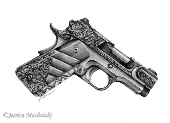 Engraving Illustration Kimber 1911 And Illustrations On Ideas And Designs