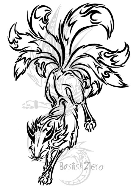Nine Tailed Fox Tribal Tattoo Google Search Randomm Ideas And Designs
