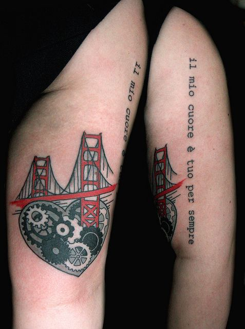 Golden Gate Bridge Tattoo With Heart And Gears The Ink Ideas And Designs