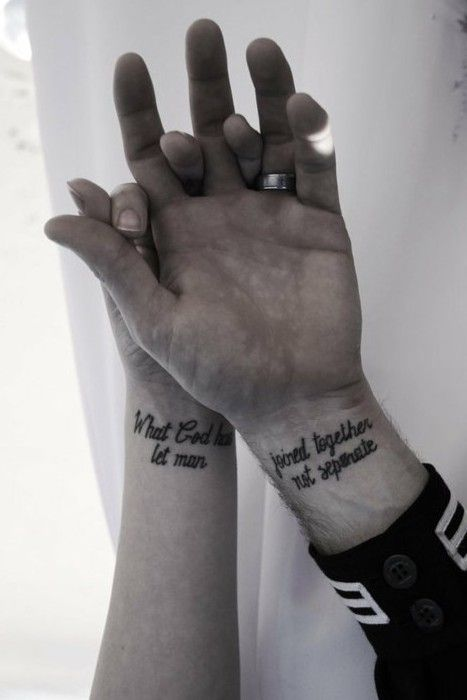 Adorable Couple Tattoo What G*D Has Joined Together Let Ideas And Designs