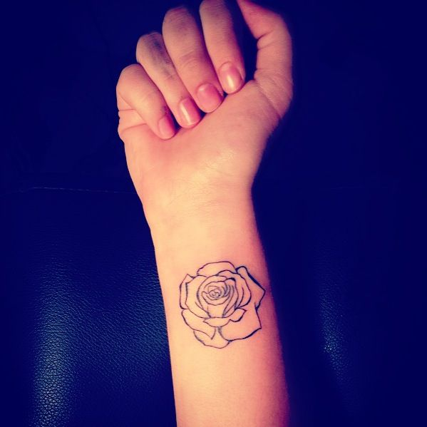 My Outline Rose Tattoo Tattoo Pinterest Simple Rose Ideas And Designs