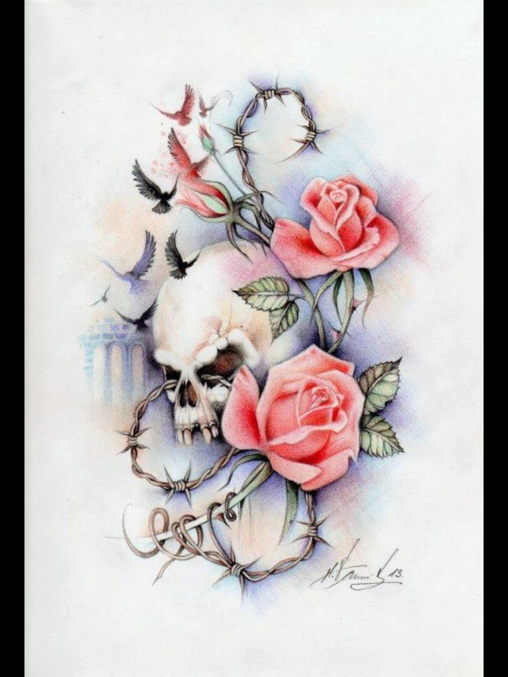 Morphed Skull Intertwined Within Roses Tattoo Props Ideas And Designs