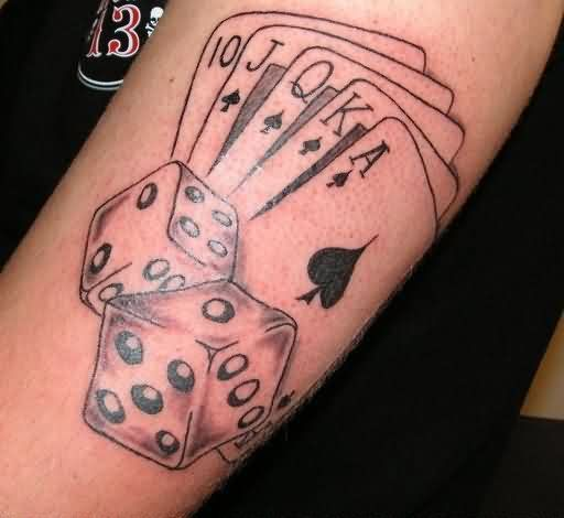 Poker Cards And Dice Tattoos On Biceps Stuff Pinterest Ideas And Designs