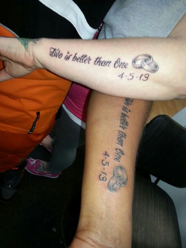 Couple S Tattoo With Wedding Rings And Dates Two Is Ideas And Designs