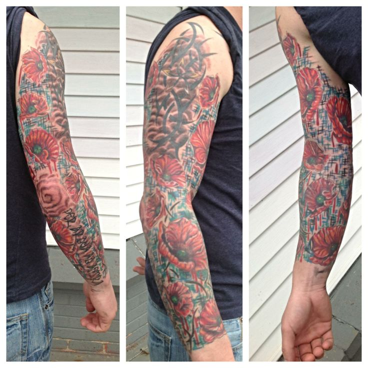 Poppy Sleeve With Canadian Military Colours Tattoos Ideas And Designs