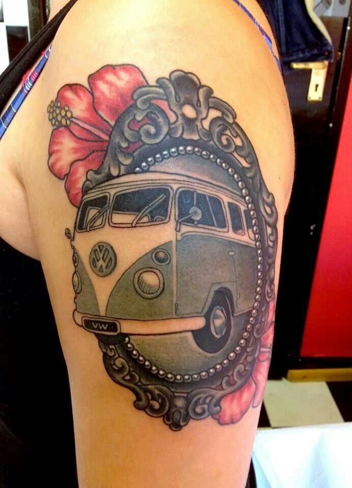 Framed Camper Van Tattoo Vw Bus Camping Tattoos Ideas And Designs