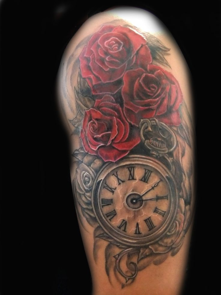 25 Best Ideas About Clock And Rose Tattoo On Pinterest Ideas And Designs