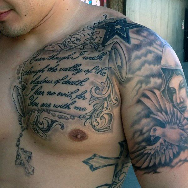 Man With Bible Verses Tattoos On Upper Chest Inspiration Ideas And Designs