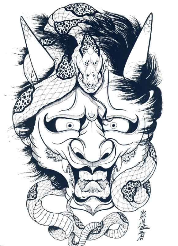 Japanese Hannya Mask Tattoo Designs By Horimouja Outline Ideas And Designs