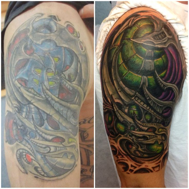 Biomechanical Tattoo Cover Up By Mark Haley At Big Ink Ideas And Designs