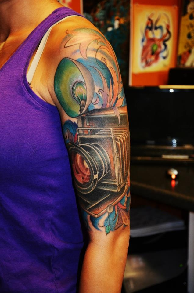 My 1940S Vintage Style Camera Half Sleeve Tattoo By Dave Ideas And Designs
