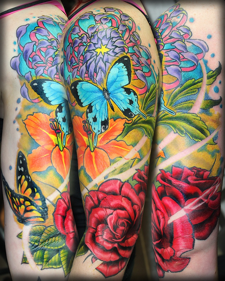 Colourful Floral 1 2 Sleeve Tattoo Tim Ashman Tattoos Ideas And Designs