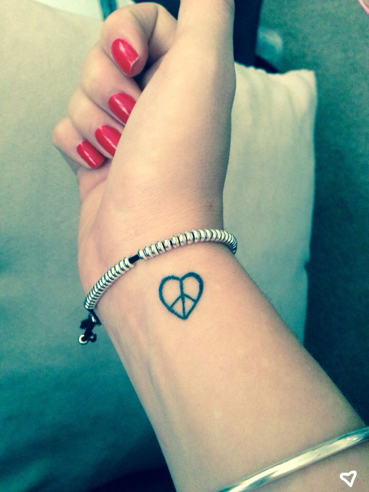 Peace Heart Small Wrist Tattoo Love Ideas And Designs