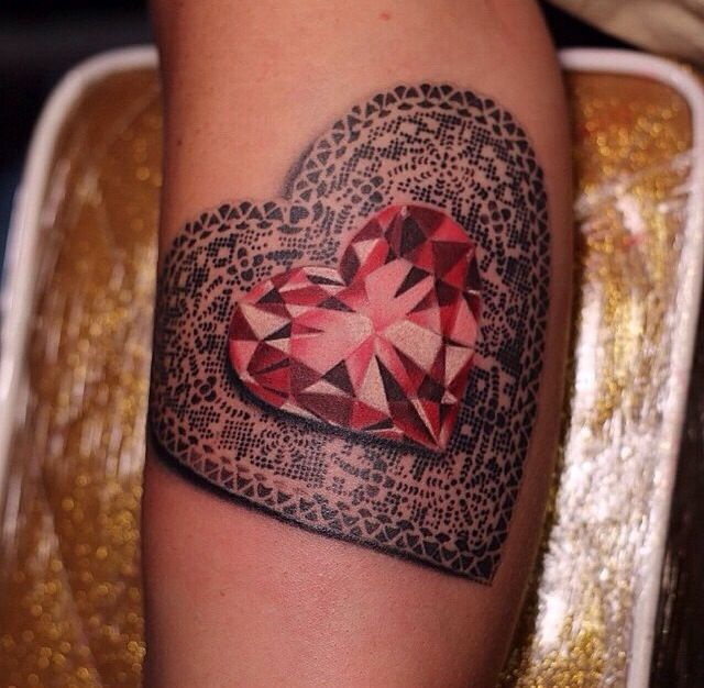Ruby Heart Tattoo Tattoos Pinterest Heart Tattoos Ideas And Designs