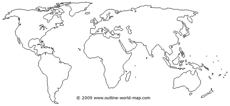 Outline World Map With Medium Borders White Continents And Ideas And Designs