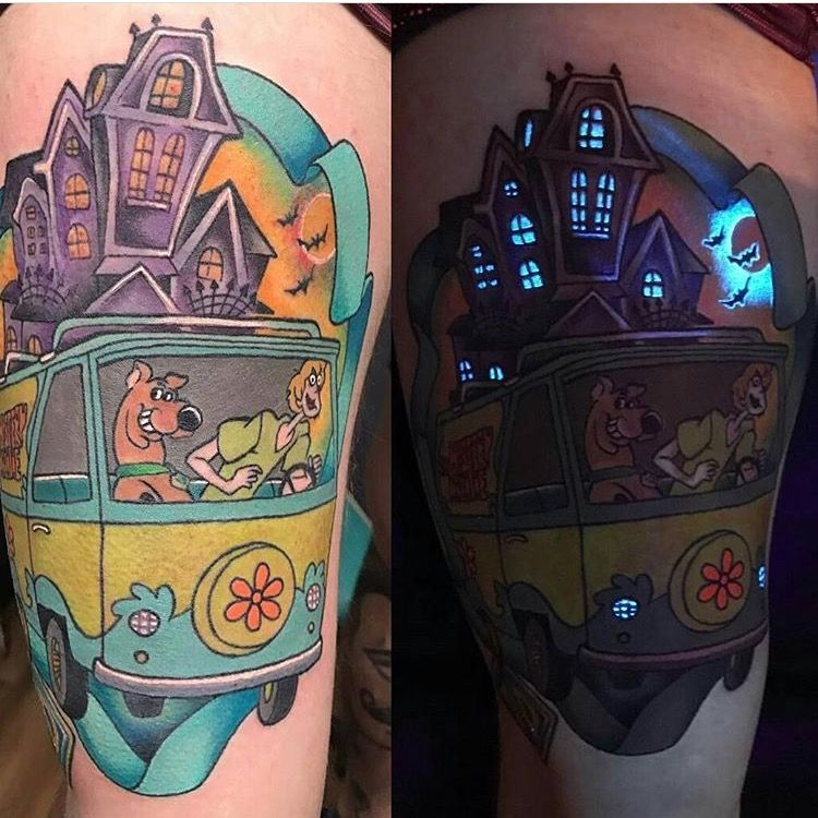 90S Kid Tattoo Scooby Doo Glow In The Dark Half Sleeve Ideas And Designs
