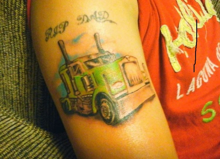 Colorful Semi Truck 18 Wheeler Truck Memorial Tattoo Ideas And Designs