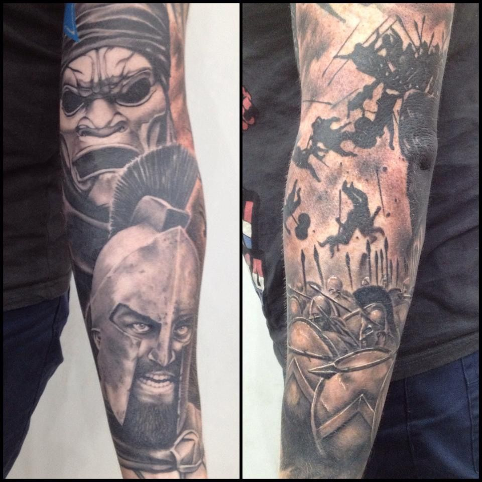 300 Tattoo Sleeve Black And Grey Realism Tattoo Ideas And Designs