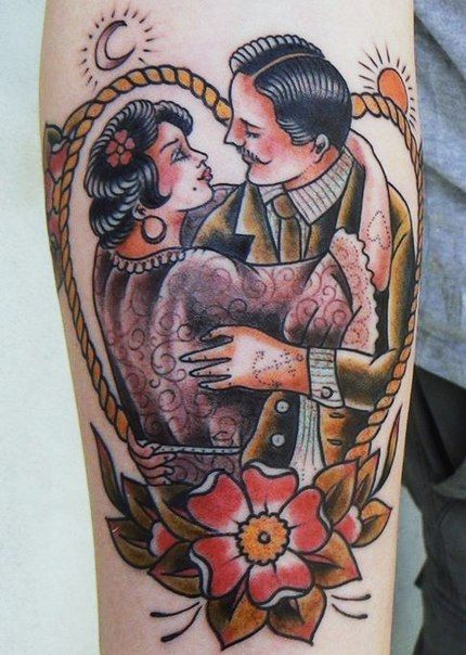 American Traditional Of Tattooed Couple Body Art Ideas And Designs