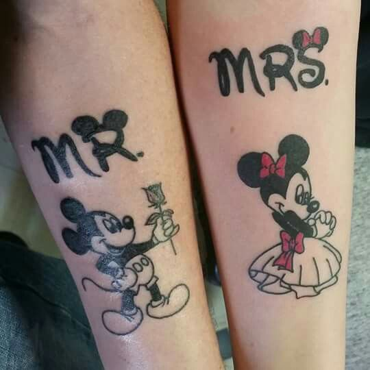 Amys And Bobbys Minnie And Mickey Couple Tattoo Ideas And Designs