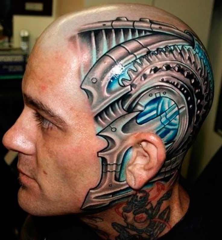 An Attractive Biomechanical Tattoo With Extreme 3D Effect Ideas And Designs