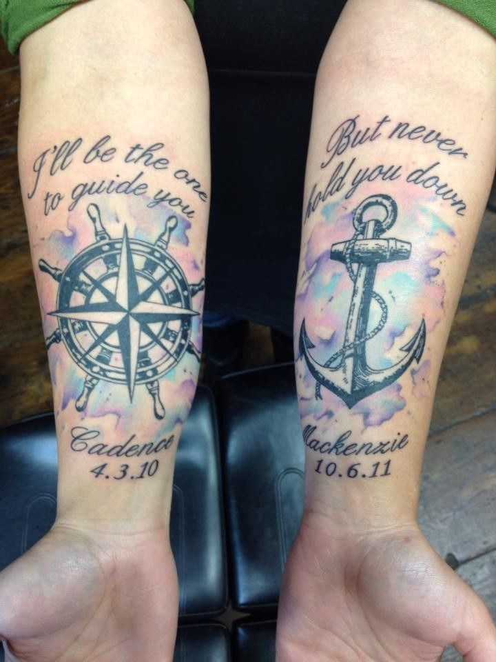 Awesome Forearm Compass Anchor Watercolor Tattoo Quotes Ideas And Designs