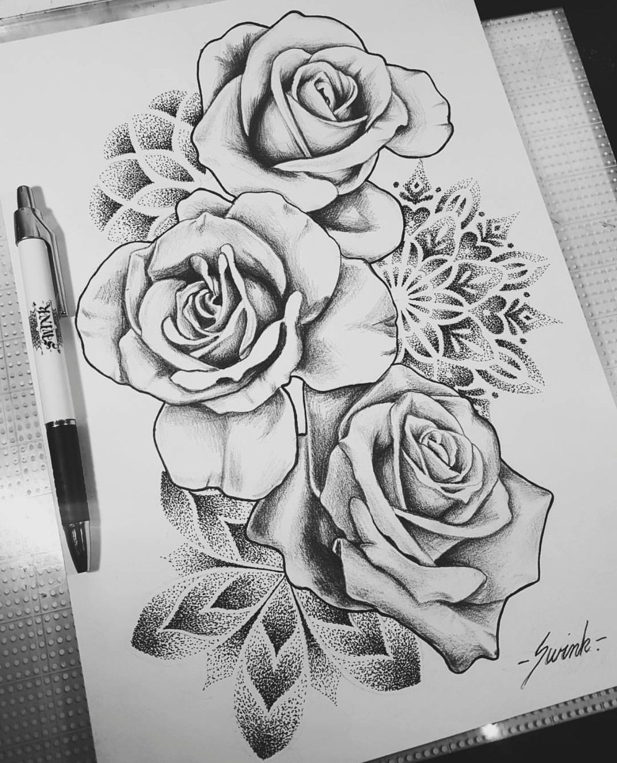 Geometrical Mandala Dot Work Roses Tattoo Design Drawing Ideas And Designs