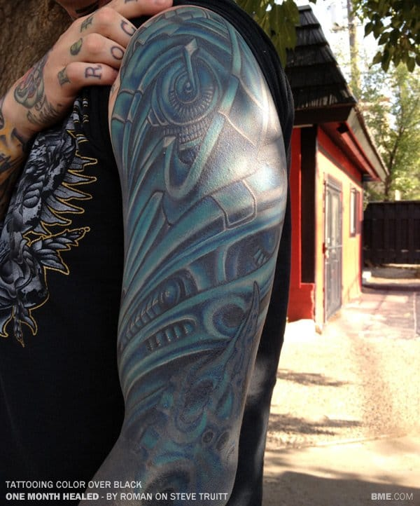 Color And White Ink Over Blackwork Tattoos Tattoodo Ideas And Designs