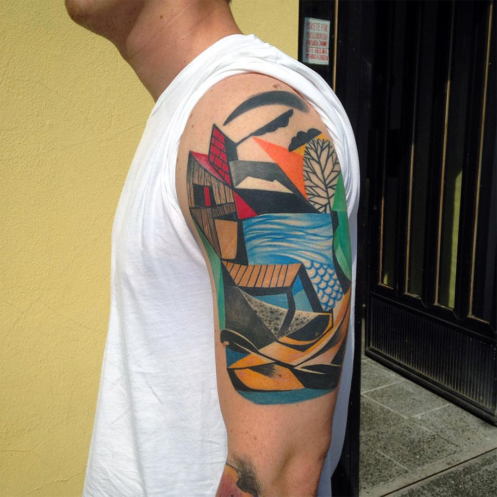 Cubist Tattoos By Peter Aurisch Colossal Ideas And Designs