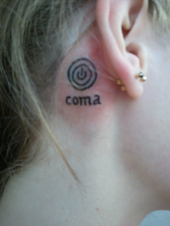Coma – Power Button Tattoo On Girl Behind The Ear By Ideas And Designs