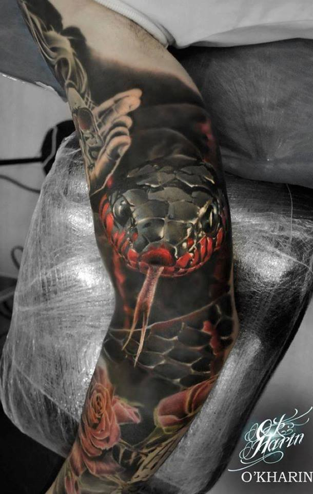 Dragon Snake Tattoo On Side Thigh By Sasha Masiuk Ideas And Designs