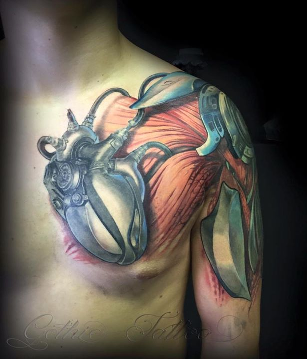 14 Mechanical Tattoos On Chest Ideas And Designs