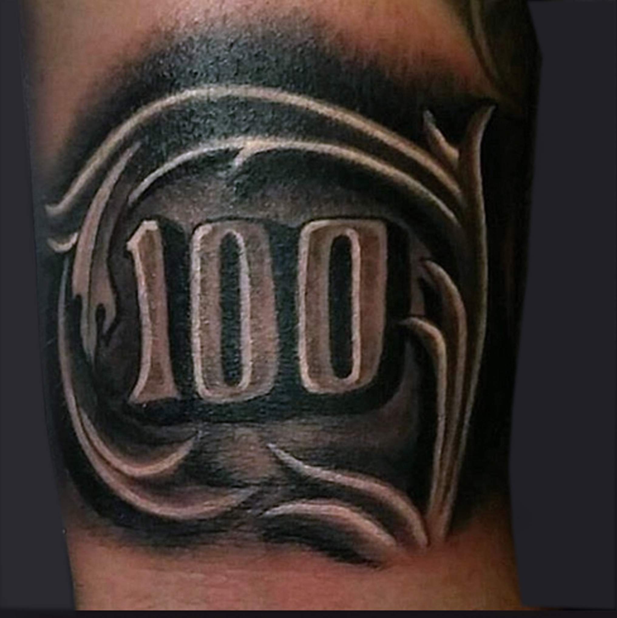 Black Ink 100 Number Tattoo Design Ideas And Designs