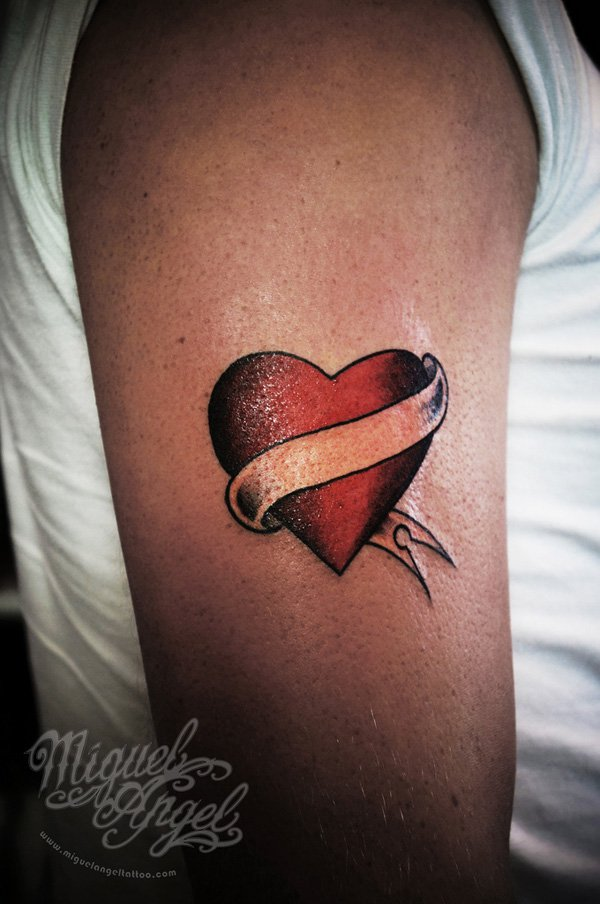 Red Ink Heart With Ribbon Tattoo On Right Half Sleeve Ideas And Designs