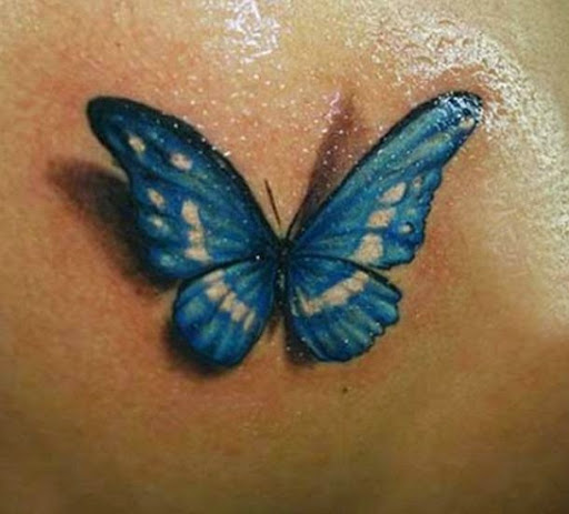 3D Blue Butterfly Tattoo Design Ideas And Designs