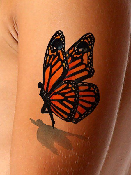 3D Fairy Monarch Butterfly Tattoo On Half Sleeve Ideas And Designs