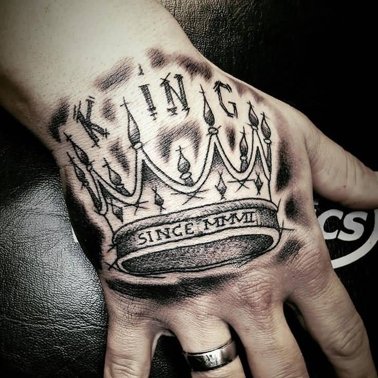 Magnificent King Crown Tattoo On Hand Ideas And Designs