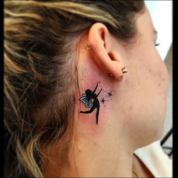 fairy tattoo behind ear tattoos for girls
