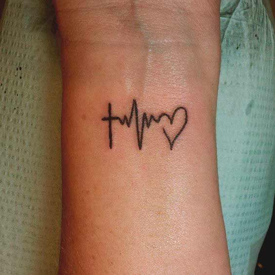 Small heartbeat with heart tattoo on wrist ideas for men and women