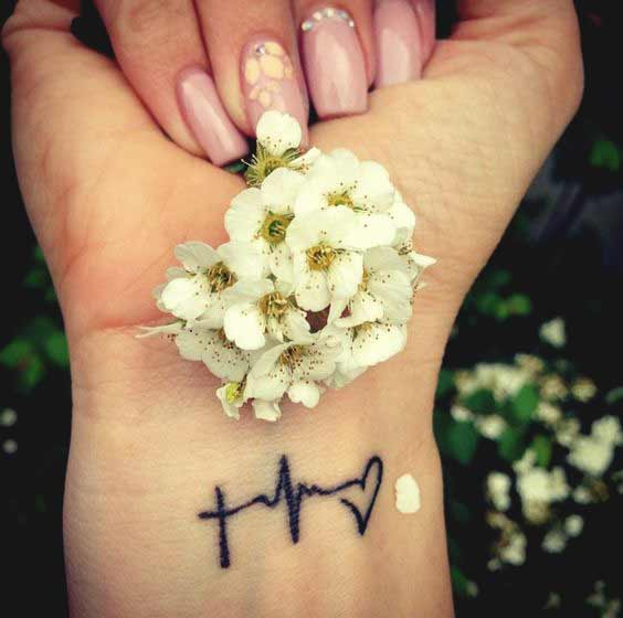 Beautiful faith hope and love tattoo symbol with flower on wrist for girls