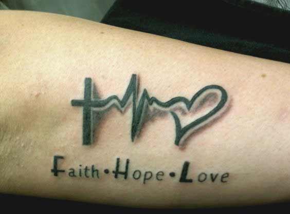 3d Faith hope love and heartbeat tattoo designs on arm