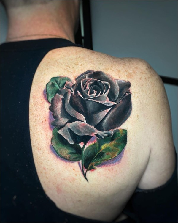 color rose tattoos for girls on upper back