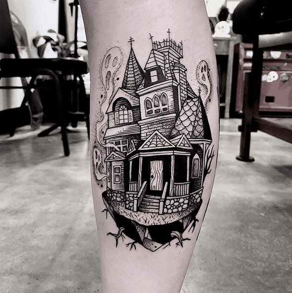 Haunted House Tattoo by cuttybage