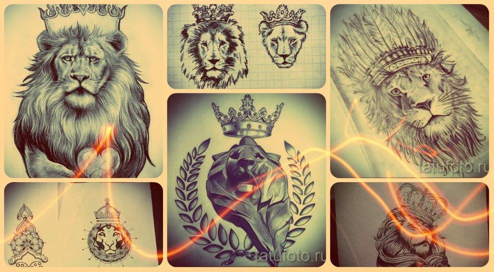 эскизы тату лев с короной рисунки для идеи тату льва и короны