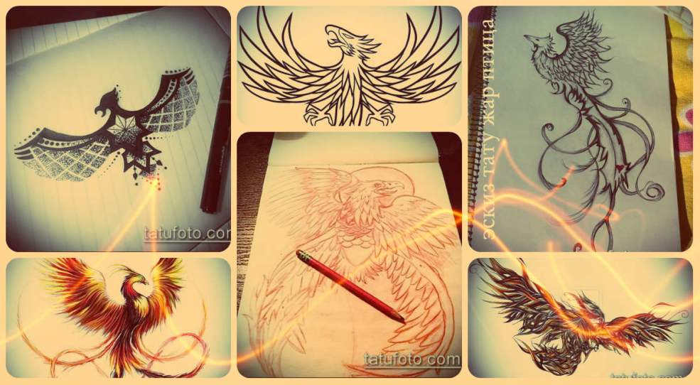 эскизы тату жар птица оригинальные рисунки для уникальных