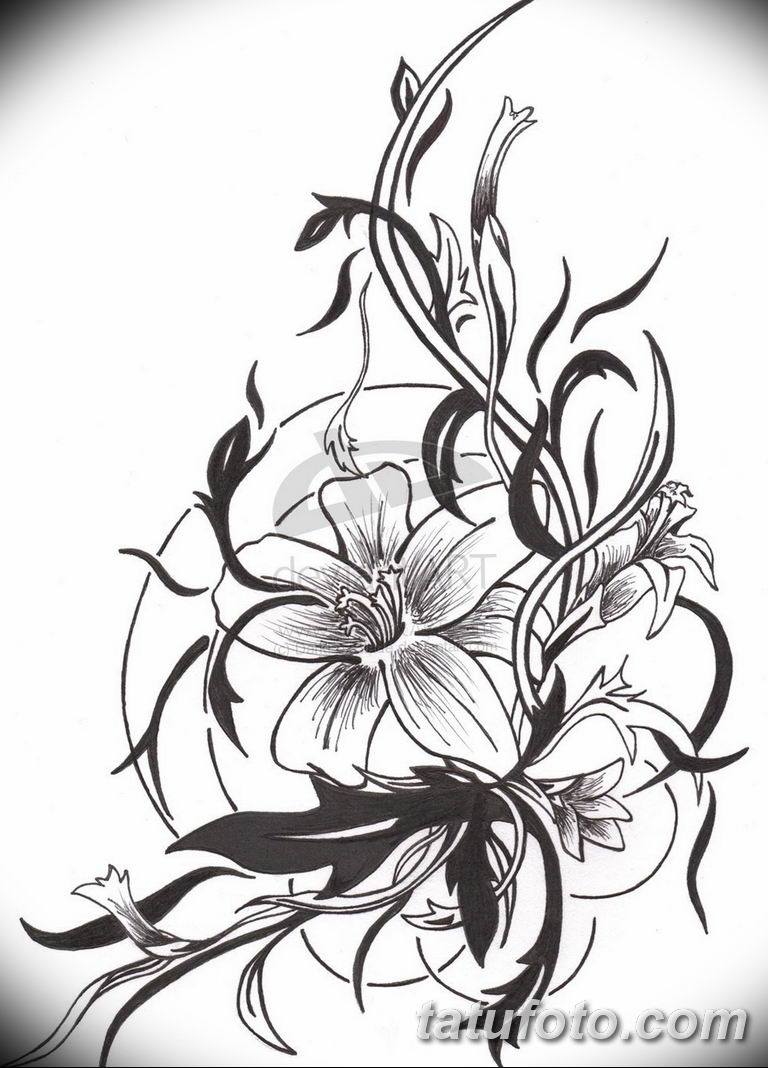 черно белый эскиз тату лилия 09032019 022 Tattoo Sketch