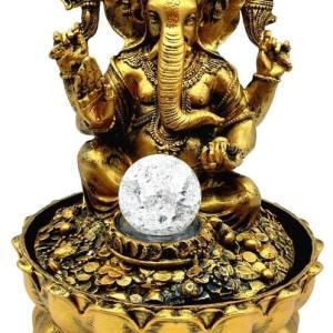 Fontaine Résine Ganesh Doré LED 30cm