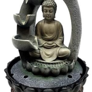 Fontaine Résine Bouddha Méditation & Arc Cascade 28cm