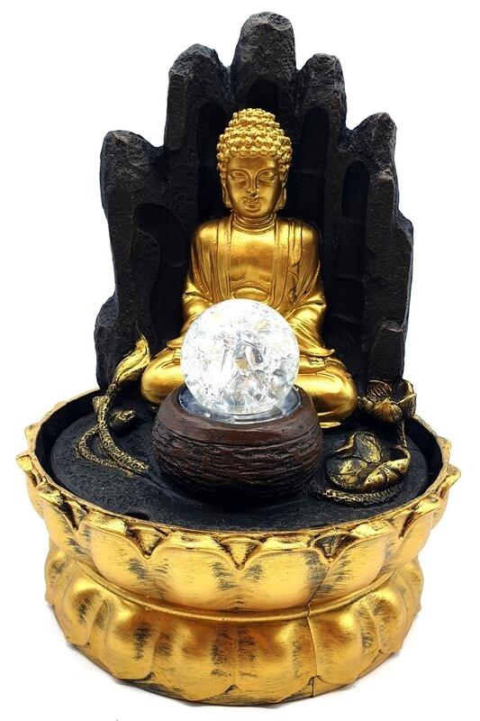 Fontaine Résine Bouddha Doré sur Main LED 29cm