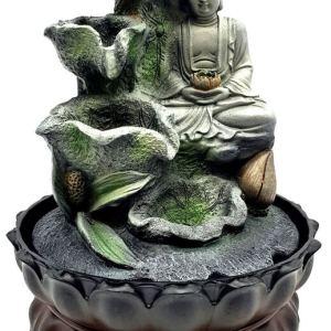 Fontaine Résine Bouddha Lotus & Cascade 28cm
